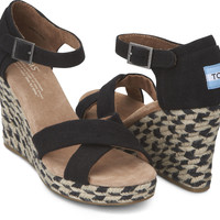 BLACK MIXED ROPE WOMEN'S STRAPPY WEDGES