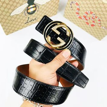 GUCCI 2018 new trend men and women wild double G buckle smooth buckle belt