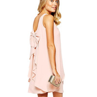 Chiffon Sleeveless Bow Ruffled Wrap A-Line Mini Dress
