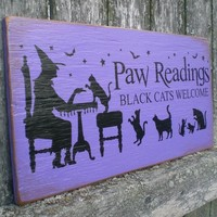 Primitive Wood Sign- Paw Readings Here