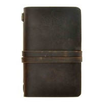 ZLYC Vintage Handmade Refillable Leather Traveler's Blank Pages Journal Diary Notepad Notebook with Strap Dark Brown2