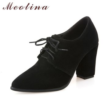 Meotina Lace Up Thick Heels Pointed Toe Ladies Shoes