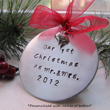 Personalized Christmas Ornament Our First Christmas Handstamped Ornament Mr. and Mrs. Ornament Heart Ornament