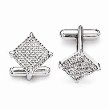 Sterling Silver Cubic Zirconia Cuff Links