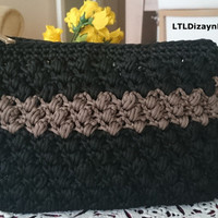 crocheted clutch,black brown clutch,zipped clutch bag,two color clutch,gift for valentine,for her,high fashion bag,trendy clutch,accessory