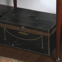 CHINA TRADE BRASS STUDDED LEATHER AND CAMPHORWOOD CHEST, CIRCA 1845 | lot | Sotheby's