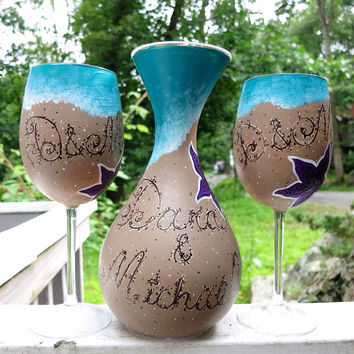 Custom Hand painted beach wedding decanter and wine glass set