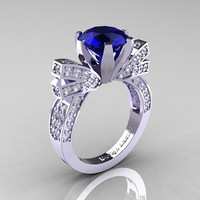 French 14K White Gold 3.0 CT Blue Sapphire Diamond Engagement Ring, Wedding Ring R382-14KWGDBS