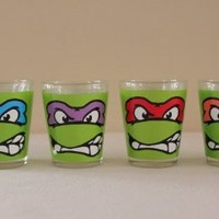"Teenage Mutant Ninja Turtle-Faces-Shooter Set of 4- 1.5"": Kitchen & Dining"