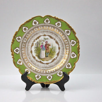 Richard Klemm Dresden Porcelain Cabinet Plate / 1800s / Gold Ornamention