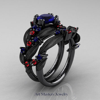 Nature Classic 14K Black Gold 1.0 Ct Blue Sapphire Ruby Leaf and Vine Engagement Ring Wedding Band Set R340SS-14KBGRBS