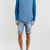 Bleach Ripped Skinny Denim Shorts - Topman