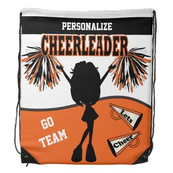 Cheerleader Personalize | Orange White Black Drawstring Bag