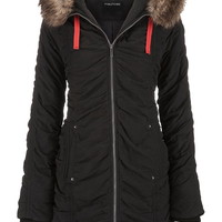Ruched Anorak Jacket With Faux Fur Trim - Black