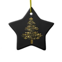 Black Gold Fleur de Lis Christmas Tree Star Christmas Tree Ornament