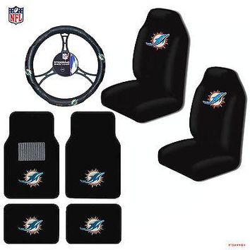 Licensed Official NFL Miami Dolphins Car Truck Seat Covers Floor Mats Steering Wheel Cover