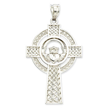 14k White Gold Celtic Claddagh Cross Pendant D1522
