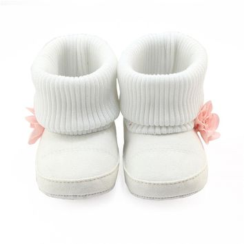 Toddler Newborn Baby Girls Boys Flower Crib Boots Soft Sole Prewalker Warm Baby girls winter Shoes drop ship