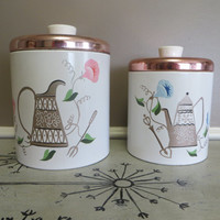 Vintage Canister Set Ransburg Canisters Kitchen Canisters Kitchen Storage Storage Canisters Pink Canister Set Cottage Chic