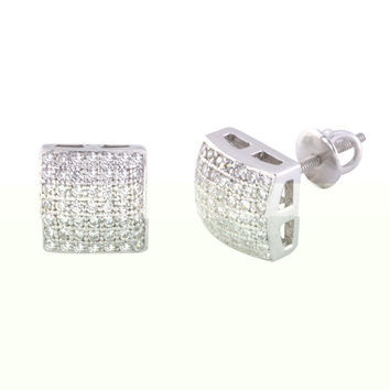 Screwback Earrings Mens Womens Sterling Silver CZ Studs 8mm Square Dome