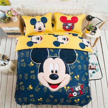 Yellow Blue Mickey Mouse 3D Printed Bedding Set Coverlets Bedspreads for Children's Bed Cotton Woven 500TC Twin Full Queen King