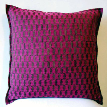 "Decorative Magenta Throw Pillow cover Accent Sofa Pillows Size 16 x 16"" Magenta Chanderi Indian Cotton Pillow Cover Cushion Cover Home Décor"