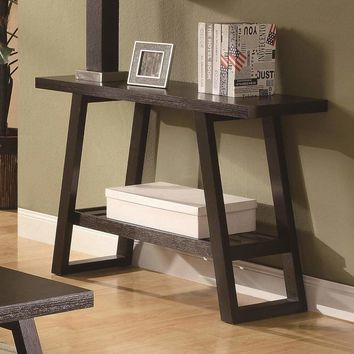Transitional Style Solid Sofa Table With Open Bottom Shelf & Flared Legs, Brown - 701869