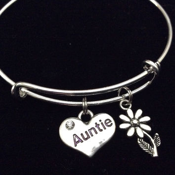 Auntie Heart Silver Expandable Charm Bracelet Adjustable Aunt Bangle Trendy Handmade