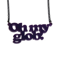 Oh My Glob Necklace, Lumpy Space Princess Adventure Time, Purple Word Pendant