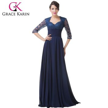 Grace Karin Half Sleeve Evening Dresses Elegant Long Formal Party Prom Gown Empire Chiffon Navy Blue Special Occasion Dress 2017