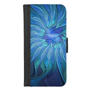 Blue Flower Fantasy Pattern, Abstract Fractal Art iPhone 8/7 Wallet Case