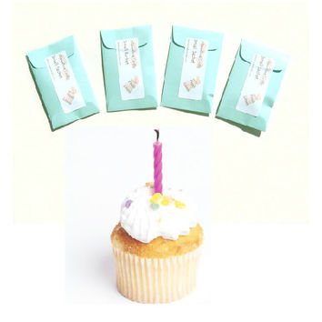 Birthday Cake Scented Mini Drawer Sachets 4 DIY Party Favors - Modern Fun Home Fragrance - Aqua Pastel - Can Be Personalized - Minimalist