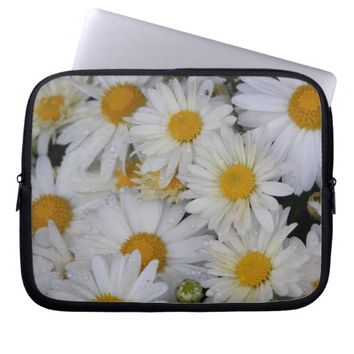 Dew-Kissed Daisies Floral Laptop Computer Sleeve