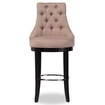Baxton Studio Harmony Modern and Contemporary Button-tufted Beige Fabric Upholstered Bar Stool with Metal Footrest  Set of 1