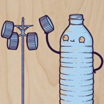 'Bottle Caps' Water Bottle Humor - Plywood Wood Print Poster Wall Art