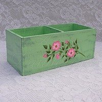 Primitive Box Folk Art Shabby Country Cottage Chic Pink Wild Roses
