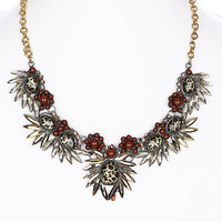 NECKLACE / LEOPARD PRINT / BIB / FLORAL LUCITE BEAD / HOMAICA / METALLIC FINISH / ROLO METAL CHAIN / 16 INCH LONG / 2 INCH DROP / NICKEL AND LEAD COMPLIANT