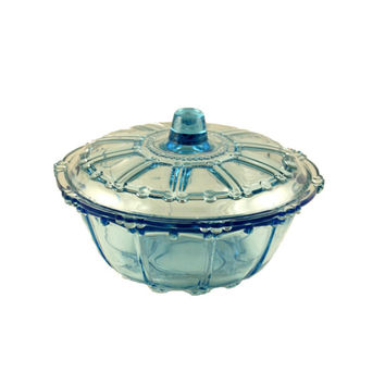 Vintage Antique Ice Blue Depression Glass Lidded Dish