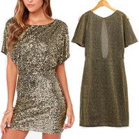 Sexy Women Summer Casual OL Business Party Sequins Evening Cocktail Mini Dress