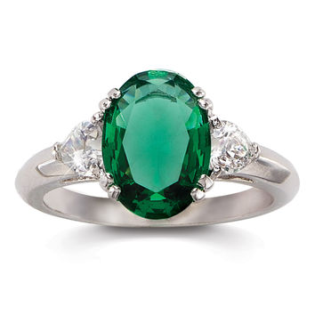 Simulated Emerald and CZ Heartsong 3-Stone Ring