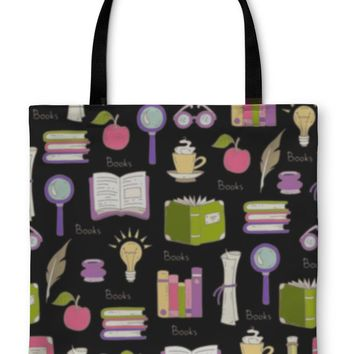 Tote Bag, Pattern On The Theme Of Books On Black Color