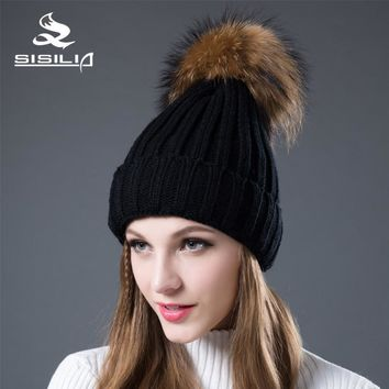 Women's hats with Raccon&Fox fur pom poms Women's Winter Hatst Multiple Colour Knitted cotton beanies  SIsilia female cap