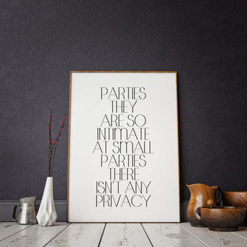 Print Funny quote Typographic print Party Decor Let Party Like Gatsby Funny quote Champagne sign Drink quote Celebration Print Bar quote Bar