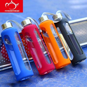 Glass Sport Water Bottle  With Silicone Insulation