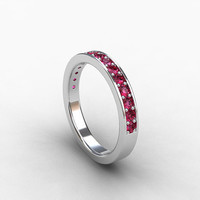 Pink sapphire ring, white gold, wedding band, pink wedding, micro pave, half eternity, pink sapphire wedding, promise ring, unique