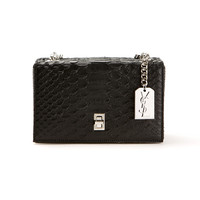 SAINT LAURENT MONOGRAMME BLACK PYTHON EMBOSSED LEATHER BOX CLUTCH