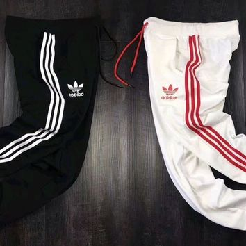 Adidas Black White Unisex Three Stripe Casual Sport Pants More Color Long Pants