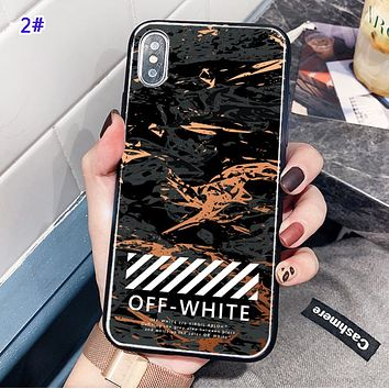 Off White New fashion letter marble print protective cover phone case 2#