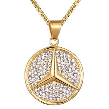 Men's Steel Luxury Car Logo Iced Out Gold Finish Pendant Chain