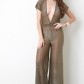 Metallic Mesh Plunge Neck Jumpsuit